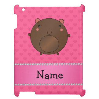 Personalized name bear pink hearts iPad cover