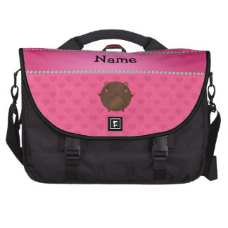 Personalized name bear pink hearts laptop commuter bag