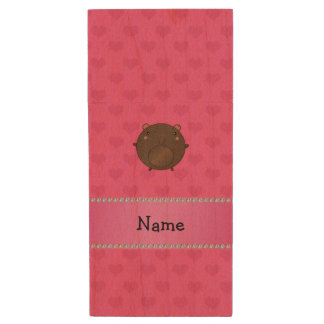 Personalized name bear pink hearts wood USB 2.0 flash drive