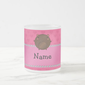 Personalized name bear pink hearts mugs