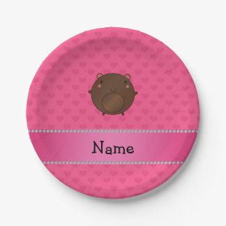 Personalized name bear pink hearts 7 inch paper plate