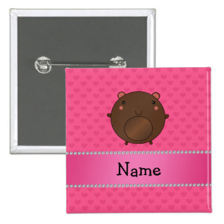 Personalized name bear pink hearts pins
