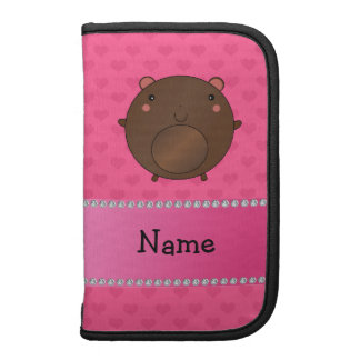 Personalized name bear pink hearts folio planner