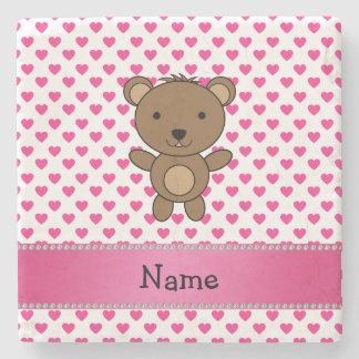 Personalized name bear pink hearts polka dots stone coaster
