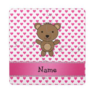 Personalized name bear pink hearts polka dots puzzle coaster