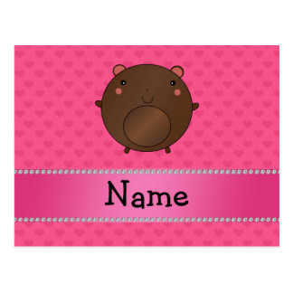 Personalized name bear pink hearts postcard