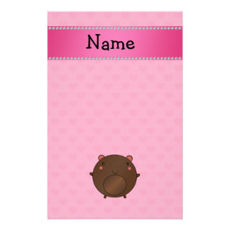 Personalized name bear pink hearts customized stationery
