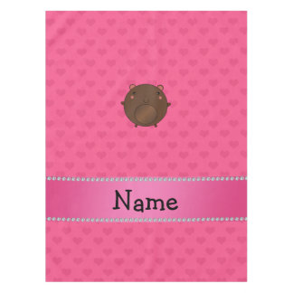 Personalized name bear pink hearts tablecloth