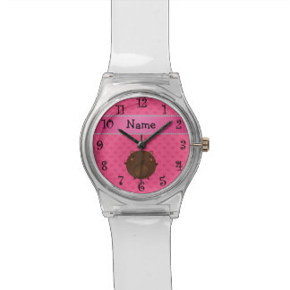 Personalized name bear pink hearts wristwatches