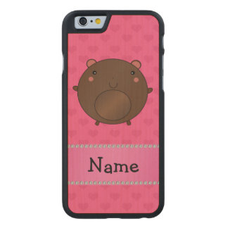 Personalized name bear pink hearts carved® maple iPhone 6 case