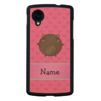Personalized name bear pink hearts carved® maple nexus 5 slim case