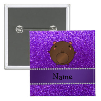 Personalized name bear purple glitter buttons