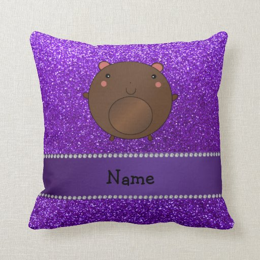 Personalized name bear purple glitter throw pillow
