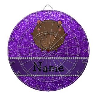 Personalized name bear purple glitter dart board