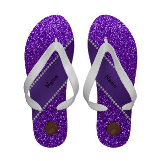 Personalized name bear purple glitter Flip-Flops