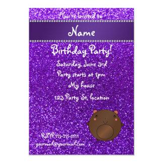 Personalized name bear purple glitter custom invitation