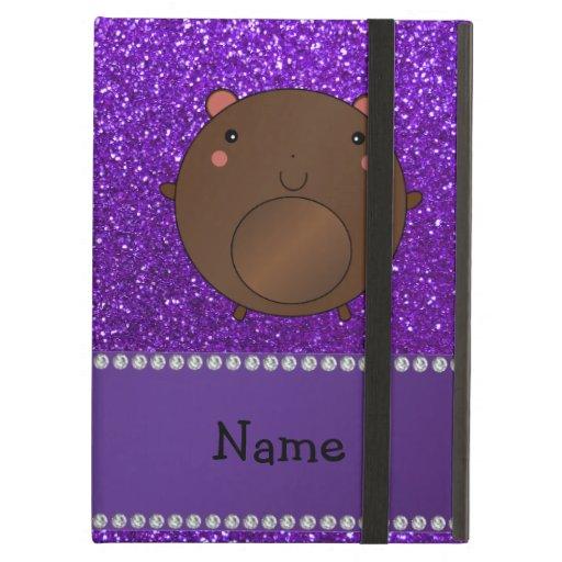 Personalized name bear purple glitter iPad cover