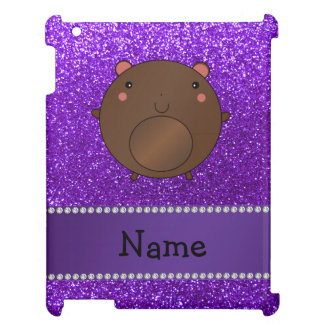 Personalized name bear purple glitter case for the iPad 2 3 4