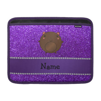 Personalized name bear purple glitter MacBook sleeve