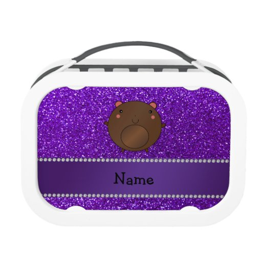 Personalized name bear purple glitter lunch boxes