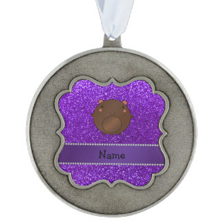Personalized name bear purple glitter scalloped pewter ornament