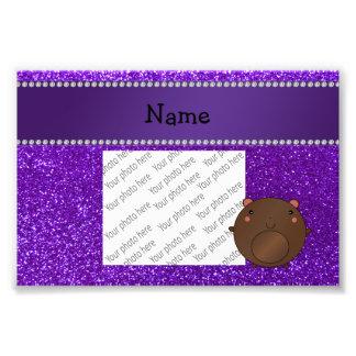 Personalized name bear purple glitter art photo