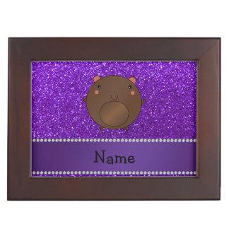 Personalized name bear purple glitter memory box