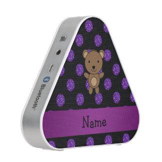 Personalized name bear purple glitter polka dots bluetooth speaker