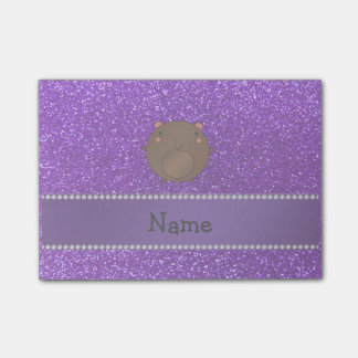 Personalized name bear purple glitter post-it® notes