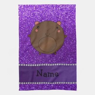 Personalized name bear purple glitter kitchen towel