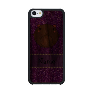 Personalized name bear purple glitter carved® walnut iPhone 5C slim case