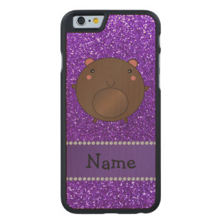 Personalized name bear purple glitter carved® maple iPhone 6 slim case