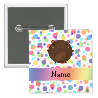 Personalized name bear rainbow polka dots pinback button