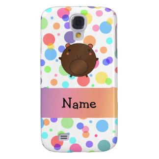 Personalized name bear rainbow polka dots HTC vivid case