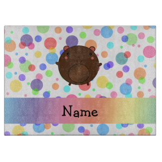 Personalized name bear rainbow polka dots cutting boards