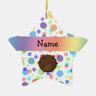 Personalized name bear rainbow polka dots christmas ornaments