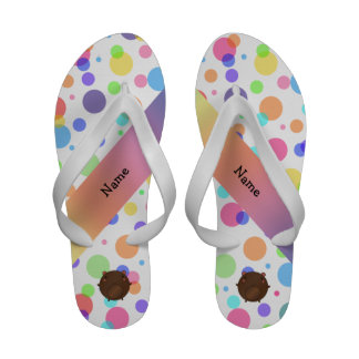 Personalized name bear rainbow polka dots flip flops