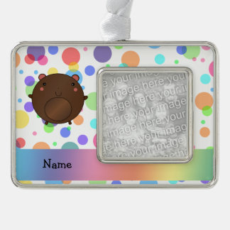 Personalized name bear rainbow polka dots silver plated framed ornament