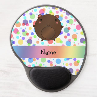 Personalized name bear rainbow polka dots gel mouse mat