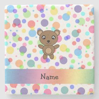 Personalized name bear rainbow polka dots stone beverage coaster