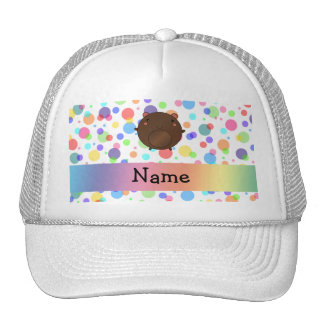 Personalized name bear rainbow polka dots hat