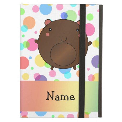 Personalized name bear rainbow polka dots iPad cases