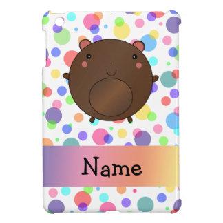 Personalized name bear rainbow polka dots iPad mini cases