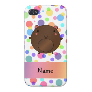 Personalized name bear rainbow polka dots iPhone 4 cases