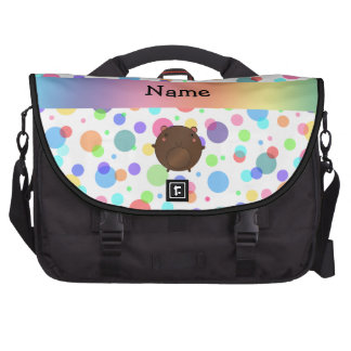 Personalized name bear rainbow polka dots computer bag