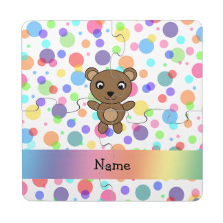 Personalized name bear rainbow polka dots puzzle coaster