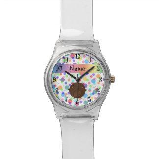 Personalized name bear rainbow polka dots wristwatch