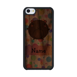 Personalized name bear rainbow polka dots carved® walnut iPhone 5C slim case