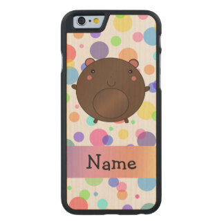 Personalized name bear rainbow polka dots carved® maple iPhone 6 slim case