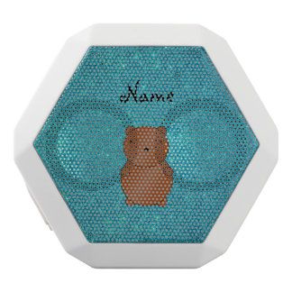 Personalized name bear turquoise glitter white boombot rex bluetooth speaker